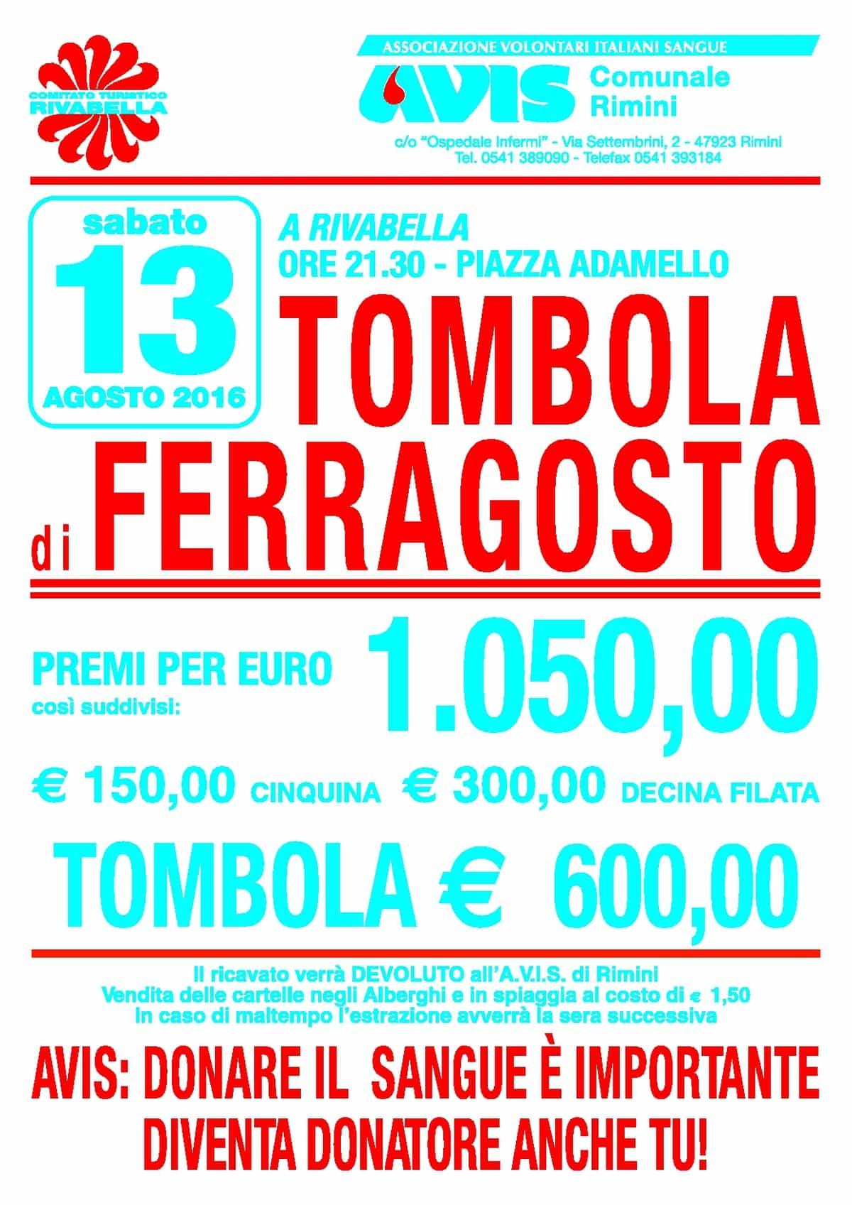 Tombola di Ferragosto con Avis Rimini @ Rivabella di Rimini | Rimini | Emilia-Romagna | Italia