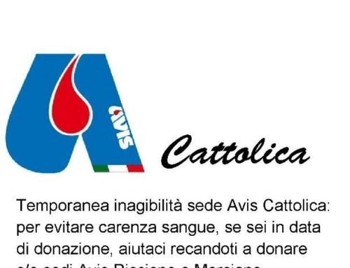 Temporanea chiusura sede AVIS Cattolica