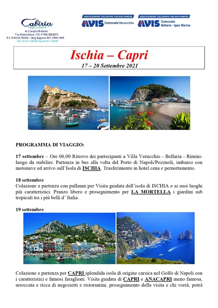 Viaggio Ischia - Capri con AVIS Verucchio e AVIS Bellaria-Igea M. @ Ischia e Capri